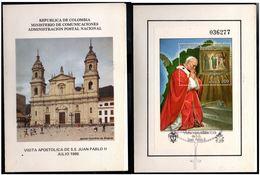 COLOMBIA- KOLUMBIEN - 1986. FD CARD / TPD. S/S - POPE JP II , VISIT TO COLOMBIA - Colombie