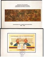 COLOMBIA- KOLUMBIEN - 1986. FD CARD / TPD. S/S - 100 YEARS OF NATIONAL CONSTITUTION - Colombia