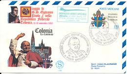 Vatican Cover Special Alitalia Flight Pope Johannes Paul II Visit To Köln 15-11-1980 With Cachet - Vatican