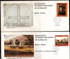 COLOMBIA- KOLUMBIEN - 1990. FDC/ SPD. 150 YEARS OF SANTANDER DEATH. SET X 5 COVERS. - Colombia