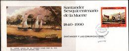 COLOMBIA- KOLUMBIEN - 1990. FDC/ SPD. 150 YEARS OF SANTANDER DEATH. SINGLE COVER - Colombie
