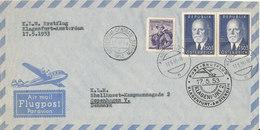 Austria First Flight KLM Klagenfurt - Amsterdam 17-5-1953 Air Mail Cover Sent To Denmark - First Flight Covers