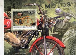 Republique Centraficane  -  Daimler Reitwagen 1885 - Harley-Davidson KHK 1956  -  1v Feuillet Neuf/MNH - Motos