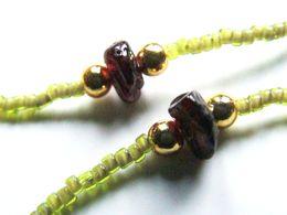 Cordon à Lunettes Artisanal Vert, Pierre Naturelle, Perles Japonaises, Miyuki 15/0, Grenat Naturel, Bijou Fait-main, Ach - Unclassified
