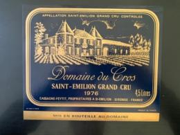 9478 - Domaine Du Cros 1976 Saint-Emilion 4.5 Litres Grande étiquette Format 21 X18 - Bordeaux