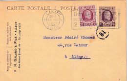 "ENTIER (B) REPIQUAGE ""LIEGE 23.XII.1926"""" + ""H. GALLAND & FILS  - ALLEUR"" - Stamped Stationery"