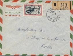 1961 , COSTA DE MARFIL, COTE D'IVOIRE , TABOU - NANTES , SOBRE CERTIFICADO , TRÁNSITO DE ABIDJAN Y LLEGADA - Costa De Marfil (1960-...)