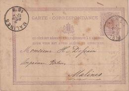 "ENTIER (B) REPIQUAGE ""YPRES  1 AOUT 1878"" + ""VAN DER GHINSTE-FOSSE,Librairie Imprimeur Litho RUE AU BEURRE 66"" - Stamped Stationery"