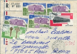 1977 , COSTA DE MARFIL, COTE D'IVOIRE , ADJAME - PARIS , SOBRE CERTIFICADO , TRÁNSITO DE ABIDJAN Y LLEGADA - Costa De Marfil (1960-...)