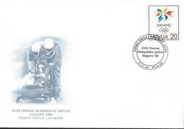 1998  Lettland  Latvija  Lettonie  Mi 474 FDC Olympische Winterspiele, Nagano - Lettonie