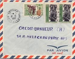 1967 , COSTA DE MARFIL, COTE D'IVOIRE , ANYAMA - PARIS , SOBRE CIRCULADO , CORREO AÉREO - Costa De Marfil (1960-...)