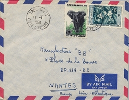 1960 , COSTA DE MARFIL, COTE D'IVOIRE , TREICHVILLE - NANTES , SOBRE CIRCULADO , CORREO AÉREO - Costa De Marfil (1960-...)