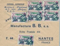 1966 , COSTA DE MARFIL, COTE D'IVOIRE , ABIDJAN - NANTES , SOBRE CIRCULADO , CORREO AÉREO - Costa De Marfil (1960-...)