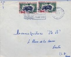 1965 , COSTA DE MARFIL, COTE D'IVOIRE , ABIDJAN - NANTES , SOBRE CIRCULADO , CORREO AÉREO - Costa De Marfil (1960-...)