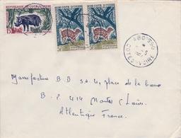 1964 , COSTA DE MARFIL, COTE D'IVOIRE , ABOISSO - NANTES , SOBRE CIRCULADO , CORREO AÉREO - Costa De Marfil (1960-...)