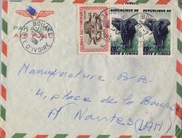 1961 , COSTA DE MARFIL, COTE D'IVOIRE , BOUAKE - NANTES , SOBRE CIRCULADO , CORREO AÉREO - Costa De Marfil (1960-...)