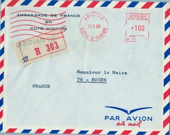 1969 , COSTA DE MARFIL, COTE D'IVOIRE , AMBASSADE DE FRANCE EN COTE D'IVOIRE , CERTIFICADO - ABIDJAN , FR. MECÁNICO - Costa De Marfil (1960-...)