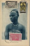 1934 COSTA DE MARFIL , COTE D'IVOIRE , TARJETA POSTAL DE TEMA ÉTNICO - JEUNE FILLE MOSSI , CIRCULADA A LEIPZIG - Ivory Coast (1892-1944)