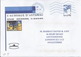 MARIANNE DE BEAUJARD N°4202 SUR LETTRE DU 1.7.08/1° JOUR TP POUR ANGLETERRE - 2008-13 Marianne De Beaujard