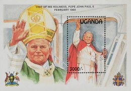 Uganda 1993 Visit Of Pope John Paul II To Uganda S/S - Uganda (1962-...)