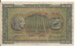 GRECE 100000 DRACHMAI 1944 VG+ P 125 - Grèce