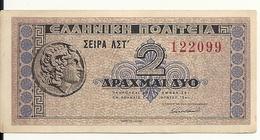 GRECE 2 DRACHMAI 1941 AUNC P 318 - Greece