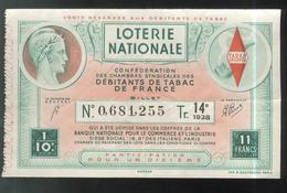 Billet De Loterie - 1/10 Confédération Des Débitants De Tabac 14ème Tranche 1938 - Billets De Loterie