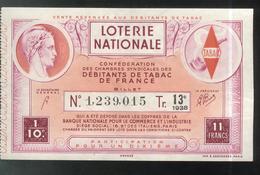 Billet De Loterie - 1/10 Confédération Des Débitants De Tabac 13ème Tranche 1938 - Billets De Loterie