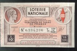 Billet De Loterie - 1/10 Confédération Des Débitants De Tabac 12ème Tranche 1938 - Billets De Loterie