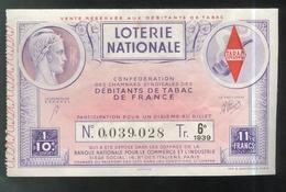 Billet De Loterie - 1/10 Confédération Des Débitants De Tabac 6ème Tranche 1939 - Billets De Loterie