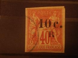 Reunion 1885-6 10c On 40c Used SG 9 Yv 9 - Réunion (1852-1975)