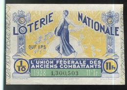 Billet De Loterie - 1/10 Union Fédérale Des Anciens Combattants 11ème Tranche 1938 - Billets De Loterie