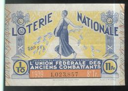 Billet De Loterie - 1/10 Union Fédérale Des Anciens Combattants 8ème Tranche 1939 - Billets De Loterie