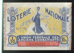 Billet De Loterie - 1/10 Union Fédérale Des Anciens Combattants 12ème Tranche 1939 - Billets De Loterie