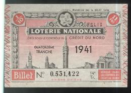 Billet De Loterie Nationale - Emis Sous Le Contrôle Du Crédit Du Nord - 14ème Tranche 1941 - Billets De Loterie