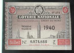 Billet De Loterie Nationale - Emis Sous Le Contrôle Du Crédit Du Nord - 3ème Tranche 1940 - Billets De Loterie