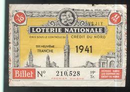 Billet De Loterie Nationale - Emis Sous Le Contrôle Du Crédit Du Nord - 19ème Tranche 1941 - Billets De Loterie