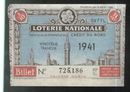 Billet De Loterie Nationale - Emis Sous Le Contrôle Du Crédit Du Nord - 20ème Tranche 1941 - Billets De Loterie