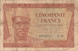 GUINEE 50 FRANCS 1958 VG+ P 6 - Guinée
