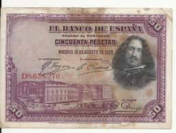 ESPAGNE 50 PESETAS 1928 VF P 75 - [ 1] …-1931 : Eerste Biljeten (Banco De España)