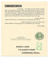 USA Scott UY14 Harrisburg PA Elmer Long Stamp Dealer 1953 Unsevered Paid Reply Postal Card - Postal Stationery