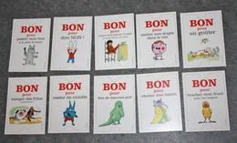 """Rare Série De 10 Bons Façon Bon-monnaie Ou Bon Point """"Bon Pour ..."""" Dessinés Par Divers Dessinateurs De BD - Bons & Nécessité"""
