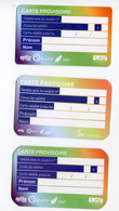 Série De 3 Cartes Provisoires SNCF / RATP Délivrées En Cas De Déterioration Du Titre Principal - Ticket RER Métro Paris - Abonnements Hebdomadaires & Mensuels