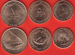 United Arab Emirates (UAE) Set Of 3 Coins: 1 - 10 Fils 1973-2014 UNC - Emirats Arabes Unis