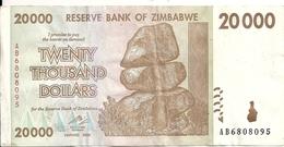 ZIMBABWE 20000 DOLLARS 2008 VF P 73 - Zimbabwe