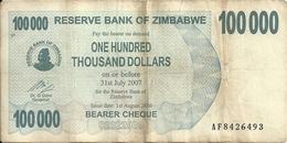 ZIMBABWE 100000  DOLLARS  BEARER CHEQUE  2006 VF P 48 B - Zimbabwe