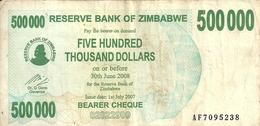 ZIMBABWE 500000 DOLLARS BEARER CHEQUE 2007 VF P 51 - Zimbabwe