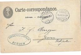 163 - 5 - Entier Postal Avec Cachets à Date  Zürich Et Gossau 1875 - Entiers Postaux