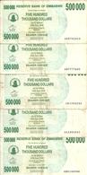 ZIMBABWE 500000 DOLLARS  BEARER CHEQUE 2007 VF P 51 ( 5 Billets ) - Zimbabwe