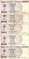 ZIMBABWE 50 MILLION DOLLARS 2008 VF P 57 ( 5 Billets ) - Zimbabwe